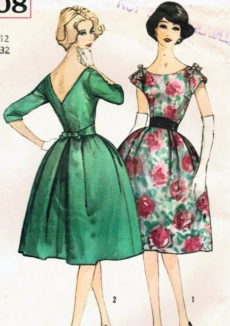 1960 Evening Cocktail Party Dress Pattern Simplicity 3708 Vintage Sewing Pattern Very Designer Harry Kress Eva Saint Marie Hitchcock North By Northwest Movie Bust 38