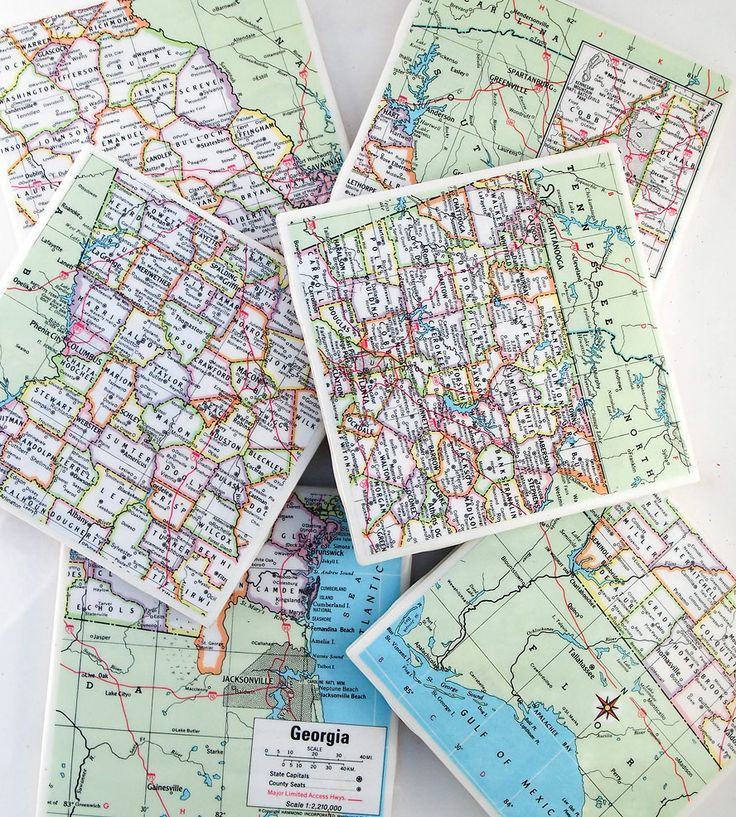 Road Map Of Project%0A Vintage Georgia Map Coasters  Set of