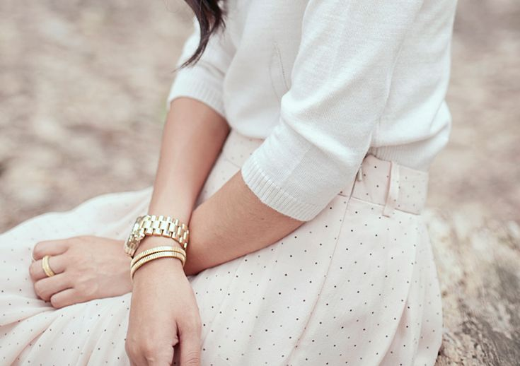 : Lights, Woman Fashion, Clean, Polka Dots Skirts, Pastel Pink, White Outfits, Pastel Colors, Spring Outfits, Cream