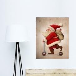 Babbo Natale sul Monopattino Poster Wall Sticker Adesivo da Muro