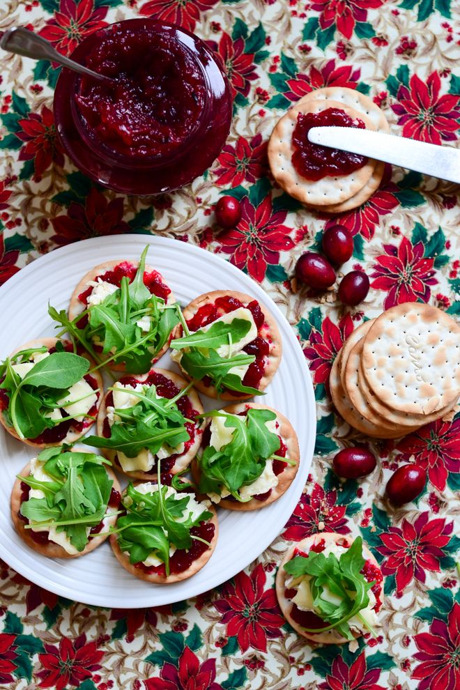 Christmas starter with homemade cranberry jam and brie cheese