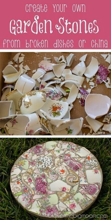 How to take broken dishes and create beautiful garden stones.                                                                                                                                                      More