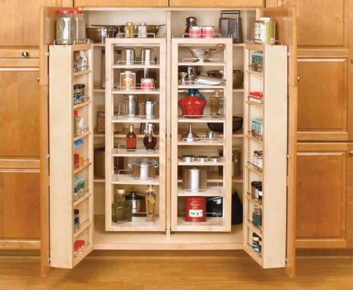 Simple Kitchen Area With Light Wood 2 Doors Pantry Cabinet Freestanding 6 Shelves Insert Decoration