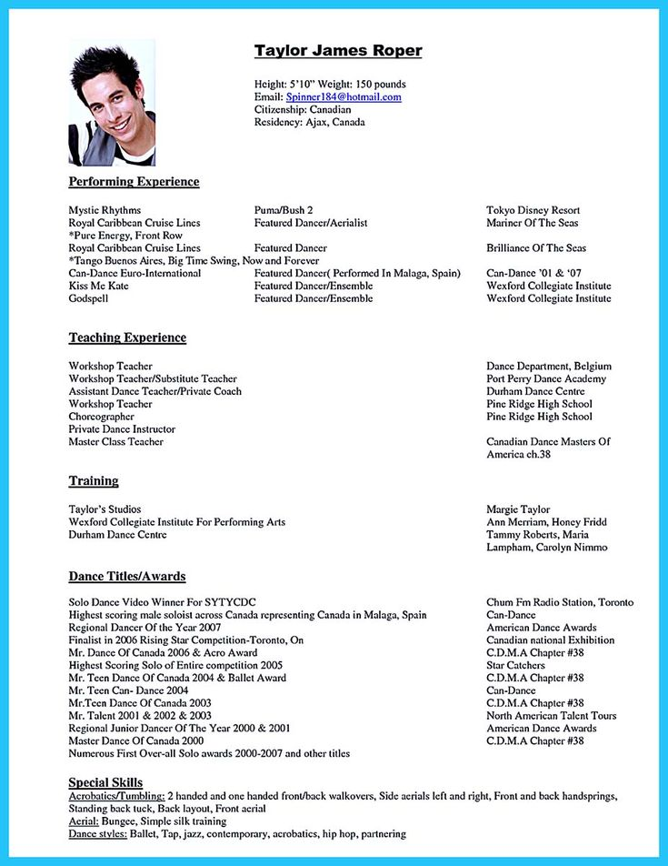7 best Dance Career Stuff images on Pinterest Cv format, Dance - dancer resume template