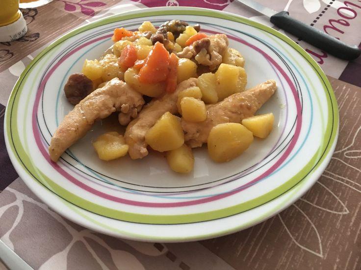 Recette du poulet aux abricots de l'application Cookeo revisité à ma façon.