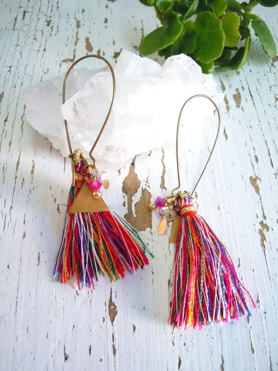 Morrocan Dangle Earrings- Colorful Tassels - Egyptian Pyramid Charms- Boho Hippie -Textile - Ethnic