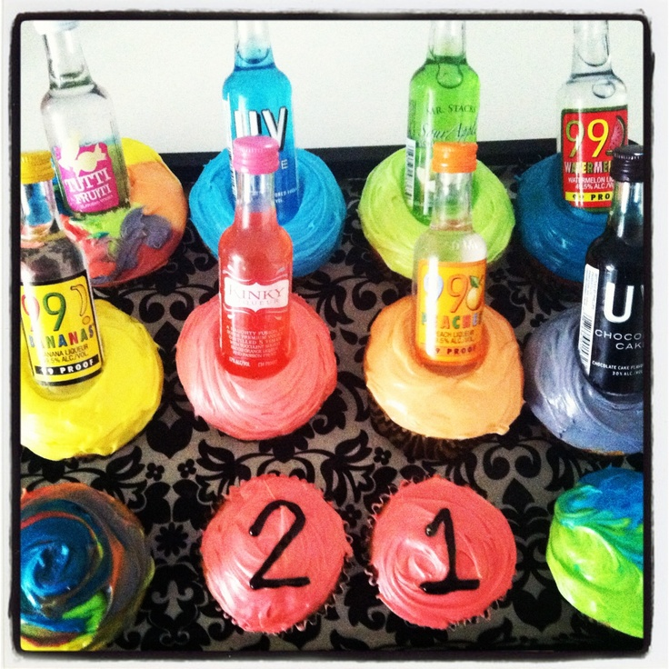 Liquor Bottle Cake Decorations: 21st Birthday Gift... Make Cupcakes And Put Small Liquor