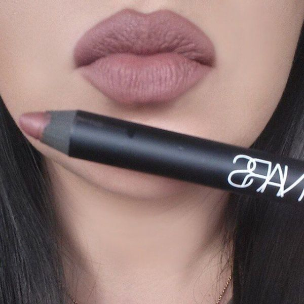 Nars velvet matte lip pencil in (Bahama). The perfect everyday lip shade. A dupe for that: Mac Whirl lip liner by leila
