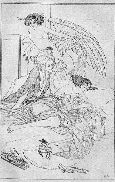 Kamar es-Saman und die Herrin Budur, Franz von Bayros