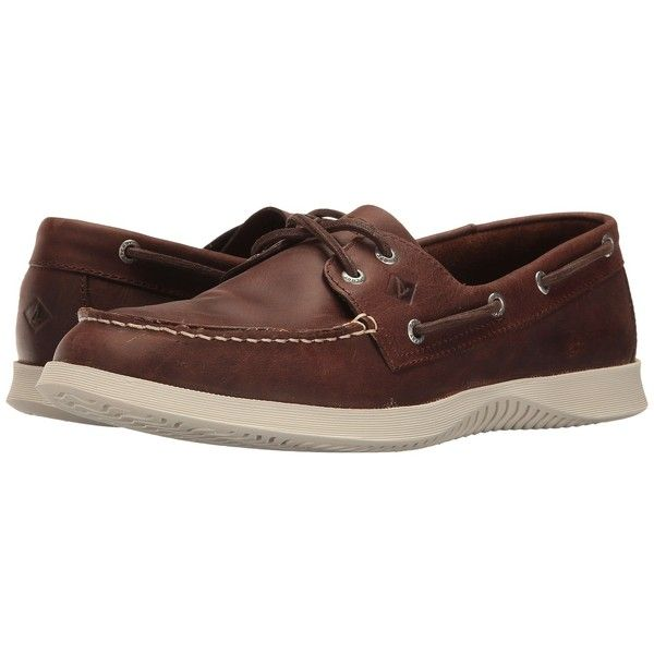 Sperry Quest 2-Eye (Brown) Men's Lace up casual Shoes (27 KWD) ❤ liked on Polyvore featuring men's fashion, men's shoes, mens lightweight running shoes, mens brown slip on shoes, mens brown shoes, mens leather slip on shoes and sperry mens shoes