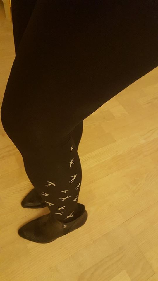 Freedom tights with bird print on both side of legs - our customer Magda is crazy about them
