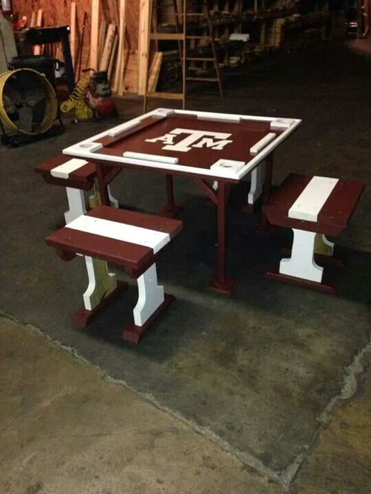 Like This Domino Table But It Would Be Awesome With The Longhorns For Backs  Of Stools