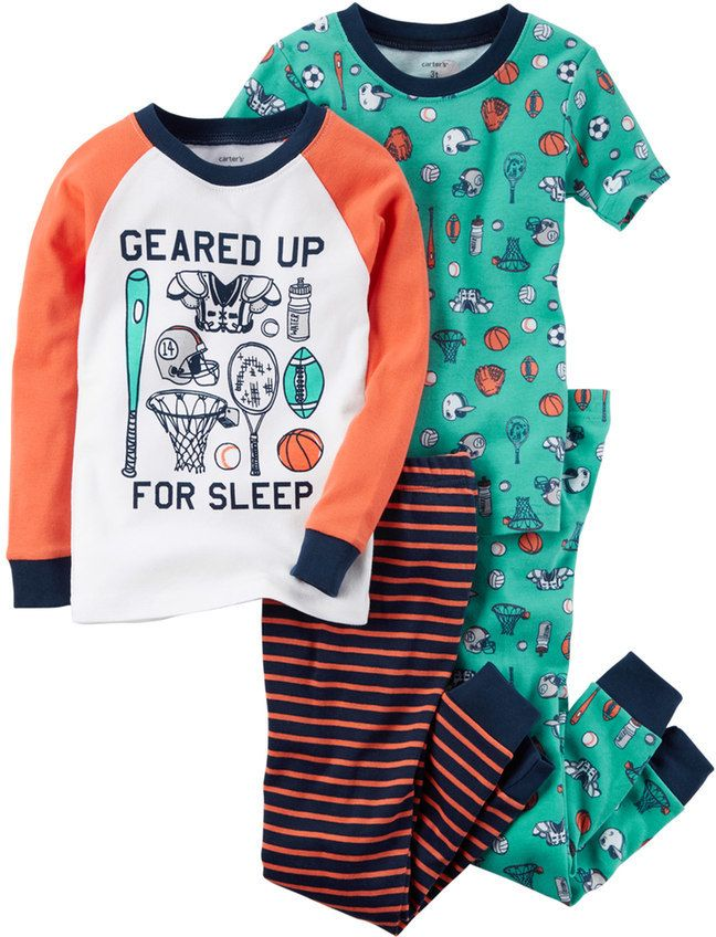 6f54f0df4c05 Baby Boy Carter s 4-pc. Tops   Pants Pajama Set