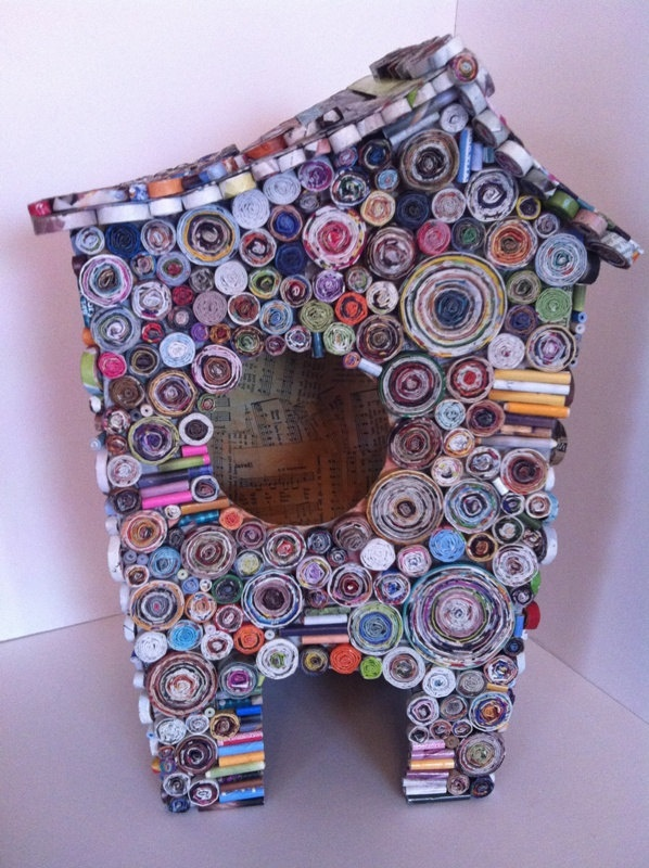 MY PLAY HOUSE - recycled cardboard paper mache and Coiled Paper structure sculpture