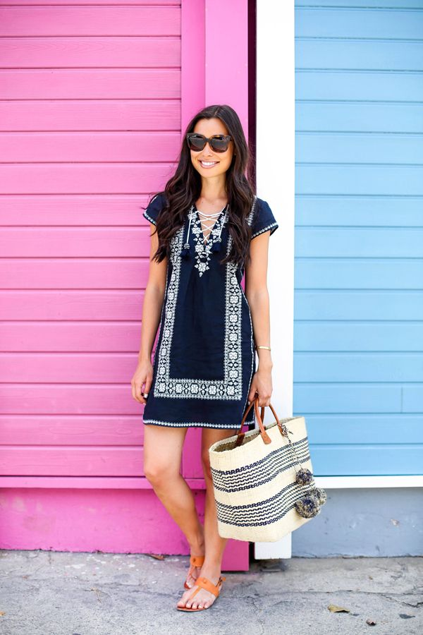 Navy Blue Embroidered Dress.