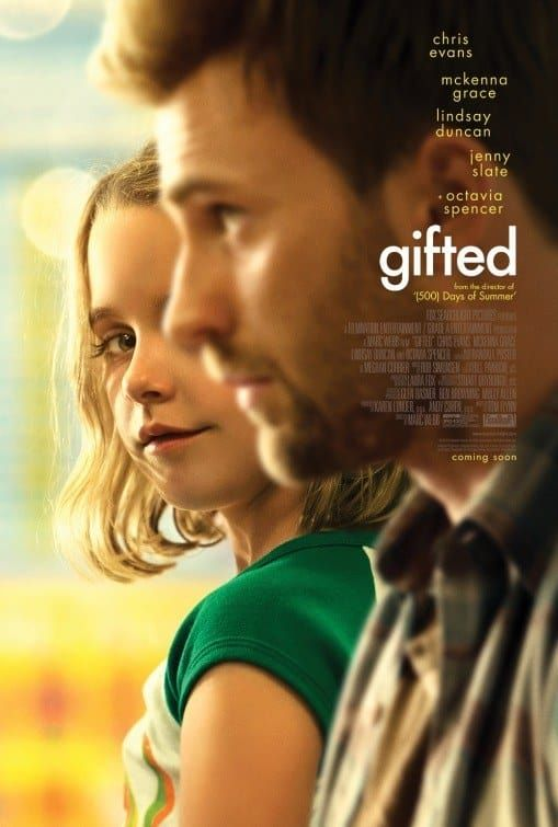 You got: Gifted Released: April 12th | Trailer   Mary (Grace) is a child prodigy who is being raised by her uncle Frank (Evans). He vowed to give her a simple life, but that all comes crashing down when his mother wants to send her to a gifted school.   Notable actors: Chris Evans, Jenny Slate, Lindsay Duncan, and McKenna Grace.