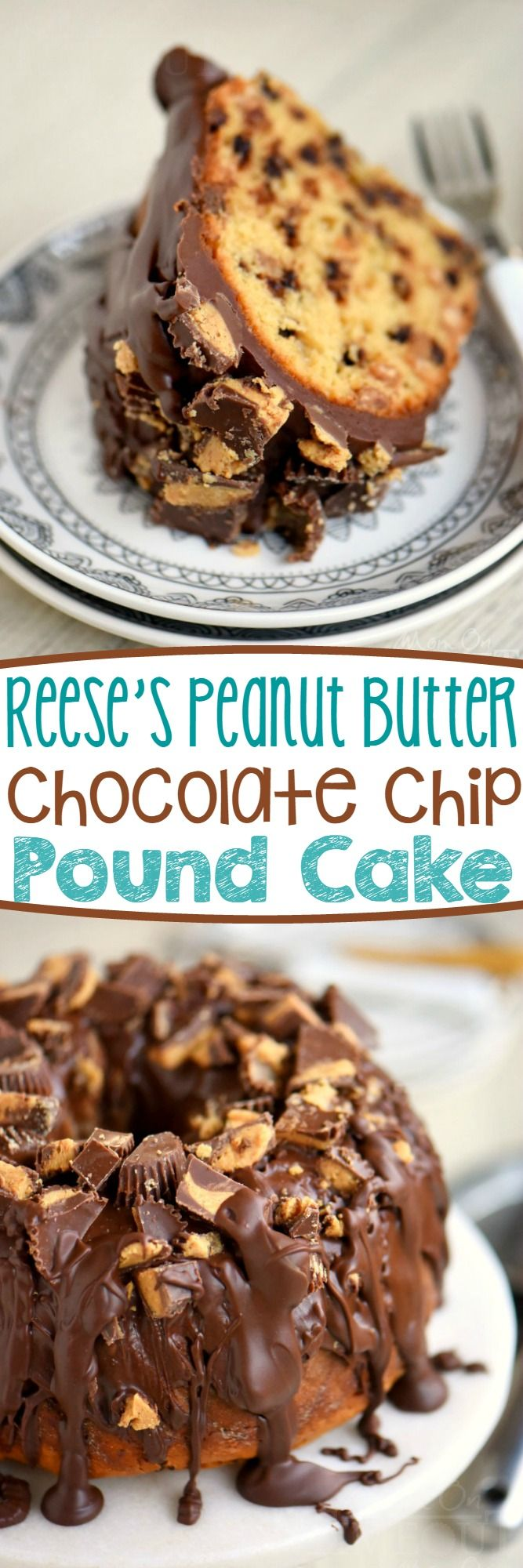 My new favorite cake! This amazingly easy and outrageously decadent Reese's Peanut Butter Chocolate Chip Pound Cake is a dream come true! So moist and delicious and topped with an incredible peanut butter chocolate glaze - no one will be able to resist!: