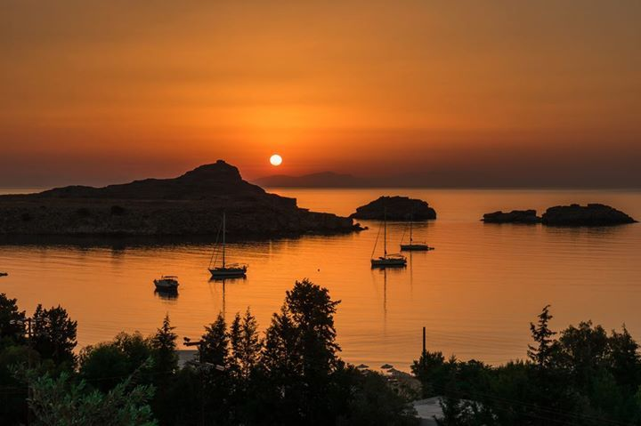 Sunset from Lindos today!