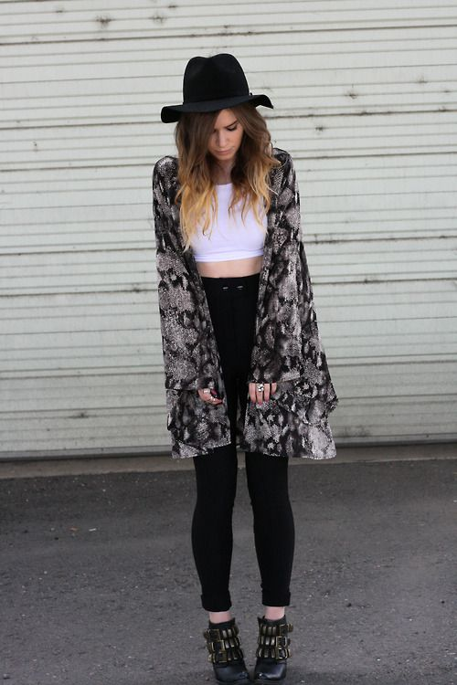 Shop this look for $76:  http://lookastic.com/women/looks/hat-and-cropped-top-and-open-cardigan-and-skinny-jeans-and-ankle-boots/2529  — Black Hat  — White Cropped Top  — Black and White Print Open Cardigan  — Black Skinny Jeans  — Black Embellished Leather Ankle Boots