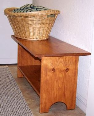 These Shaker bench plans are for the woodworking beginner. This bench could be used in the laundry room, as shown here, or as a coffee table, TV stand…