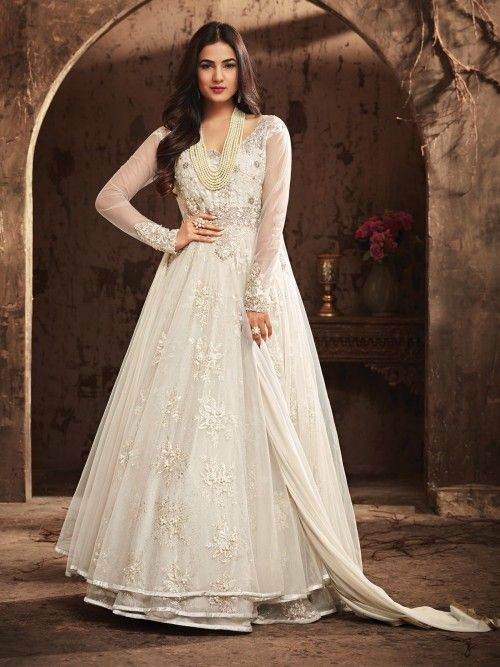 d23b96d591 Sonal chauhan off white designer anarkali suit online which is crafted from  net fabric with exclusive zari embroidery and stone work.