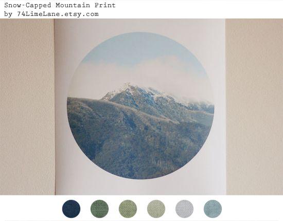 Snowcapped Mountain Print by 74Lime Lane: Colors Palettes, Mountain Palette