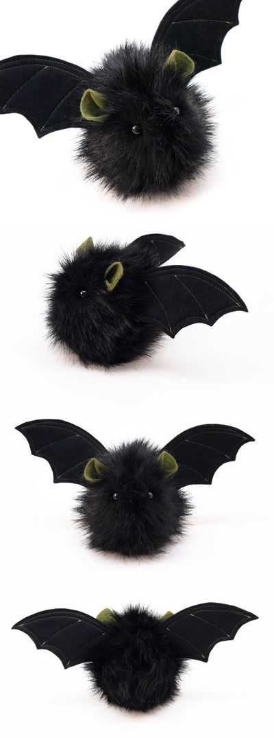 fang the black and green stuffed plushie bat - Bat Halloween Decorations