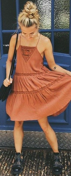 #summer #lulus #fashion   Camel Summer Dress