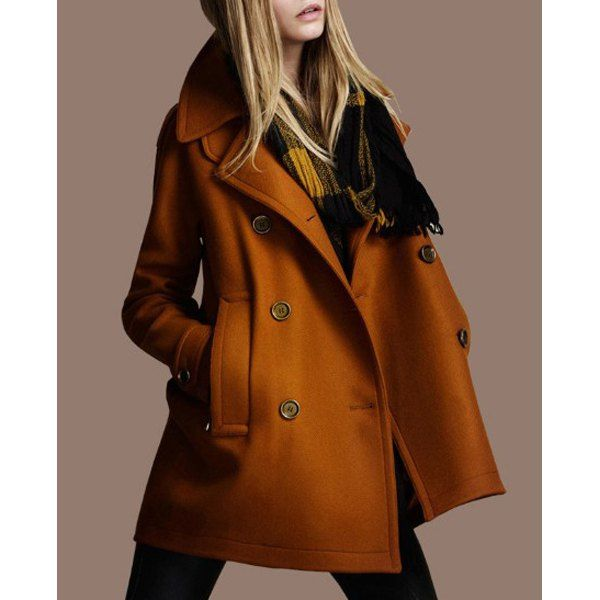 Wholesale Chic Turn-Down Neck Long Sleeve Pocket Design Women's Peacoat Only $12.62 Drop Shipping | TrendsGal.com