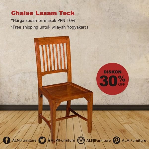 Percantik ruang makan Anda dengan Chaise Lasam Teck yang nyaman dan pas untuk menemani keluarga tercinta Anda di rumah. Info Pemesanan Telp. (0274) 4342 888 (Customer Service & Sales) Cek disini.. http://ow.ly/Z3zKq