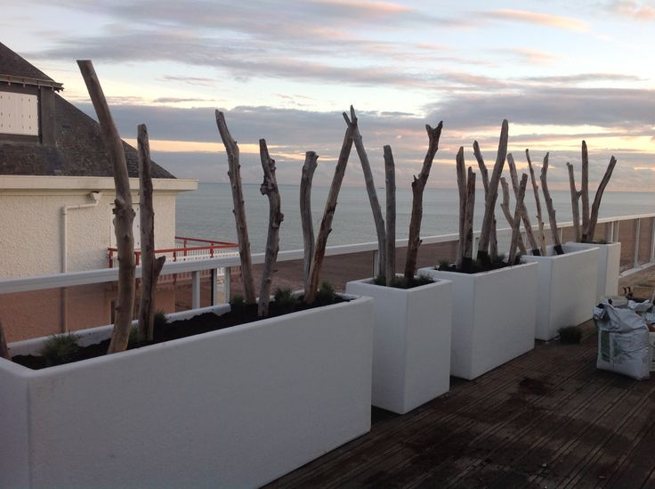 Platoflex plantcontainers on a roofterrace in France.