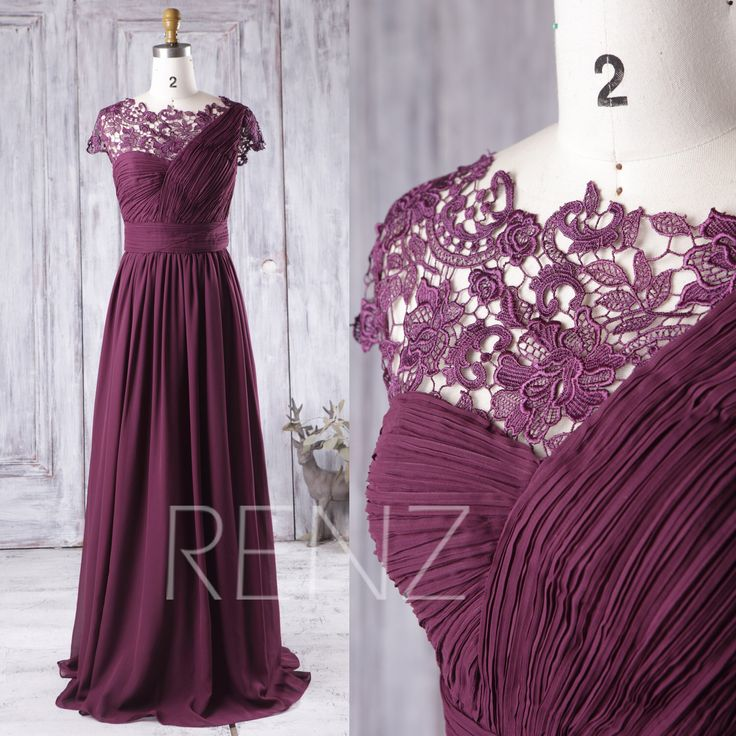2016 Plum Bridesmaid Dress Long, One Shoulder Chiffon Wedding Dress, Asymmetric Lace Neck Prom Dress, Cap Sleeves Formal Dress (J024) by RenzRags on Etsy https://www.etsy.com/listing/386282540/2016-plum-bridesmaid-dress-long-one