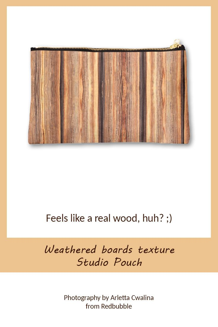 Weathered boards texture Studio Pouch feels like made of real boards. Photography by Arletta Cwalina/ @redbubble. See more clothes and home decor ideas and if you love it, feel free to share, maybe your friends would like to have it too :) #homedecor #pouch #wooden #boards