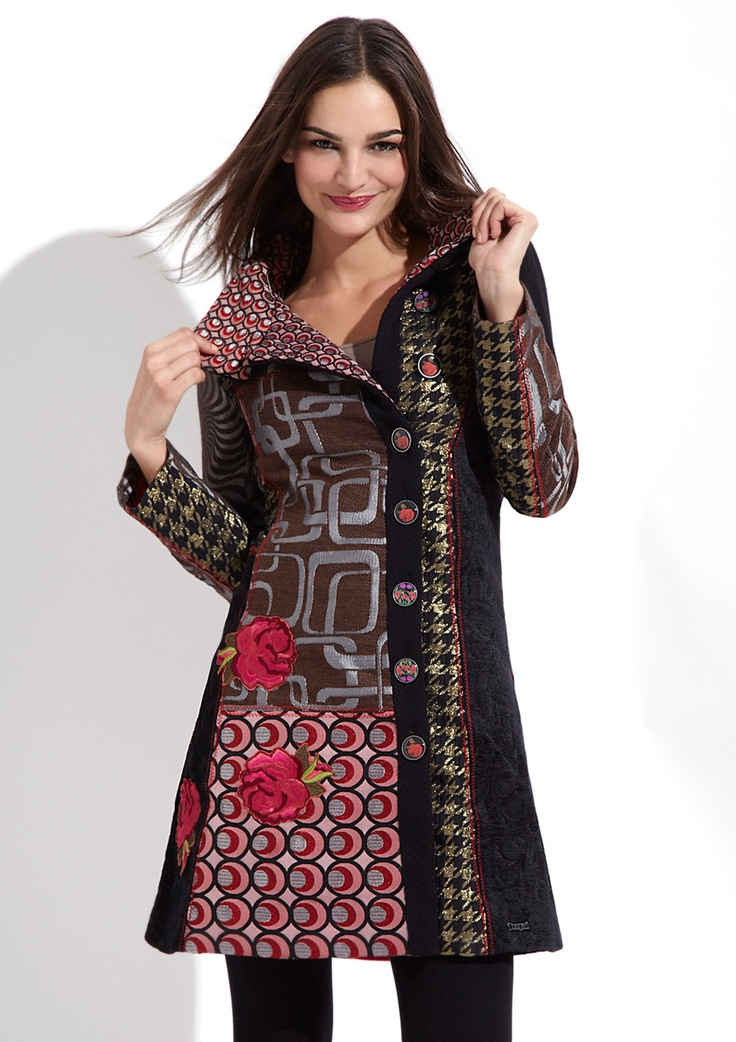 """DESIGUAL  Dasha Coat  $179.99  $359.00      Long sleeve coat      Allover patchwork design with topstitch detailing      Foldover collar with button front closure      Features embroidered flowers on lower bodice and back      Slit pockets at waist      Fully lined    Material: 40% Polyester 20% Cotton 15% Wool 15% Lurex 10% Viscose, Lining: 100% Polyester  Approx. measurements (size 38): sleeve length 24"""", shoulder to hem 34""""  Care: Dry clean only  Origin: Imported  Fit: This style runs…"""