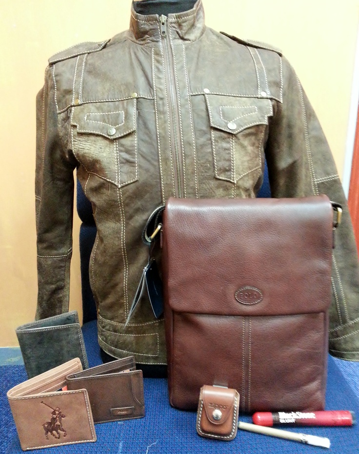 Get your dad stunning products from Leather Leisure this Father's Day. Radwan Leather jacket - R799.95, Polo Sling bag - R2195, Polo wallet - R395, Polo money clip wallet (brown) - R395, Polo passport cover - R325, Zippo pouch - R150, Black stone Cherry cigar (big) - R70, Black stone cherry cigar (small) - R25
