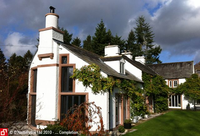 Witherslack, Cumbria - two storey curved extension with projecting chimney stack.