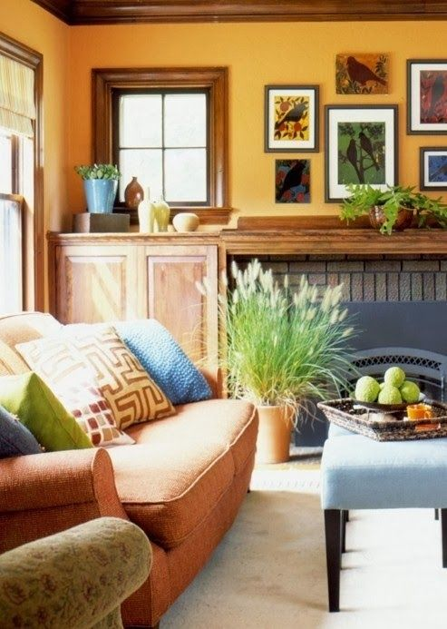 Decor orange blue and gold living room my home decor for Orange and yellow living room ideas
