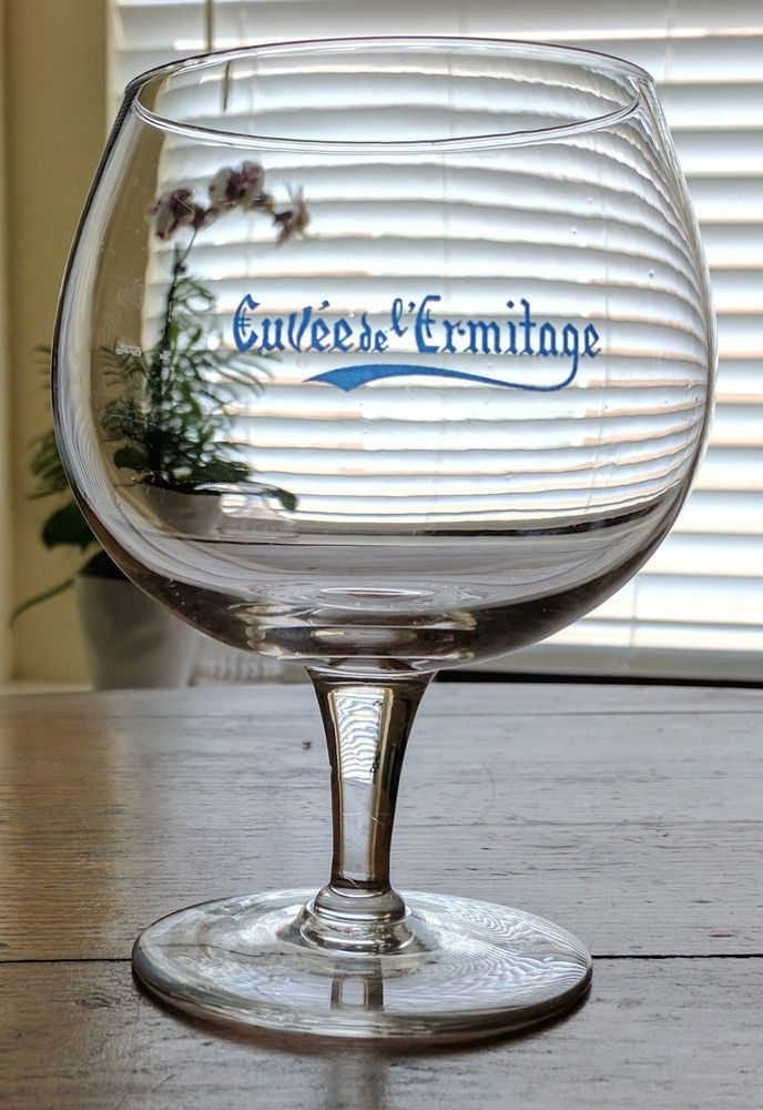 Cuvee de l'ermitage Belgian Beer Glass Alken Maes Brewery Blue Front Clear Glass #Cuveedelermitage