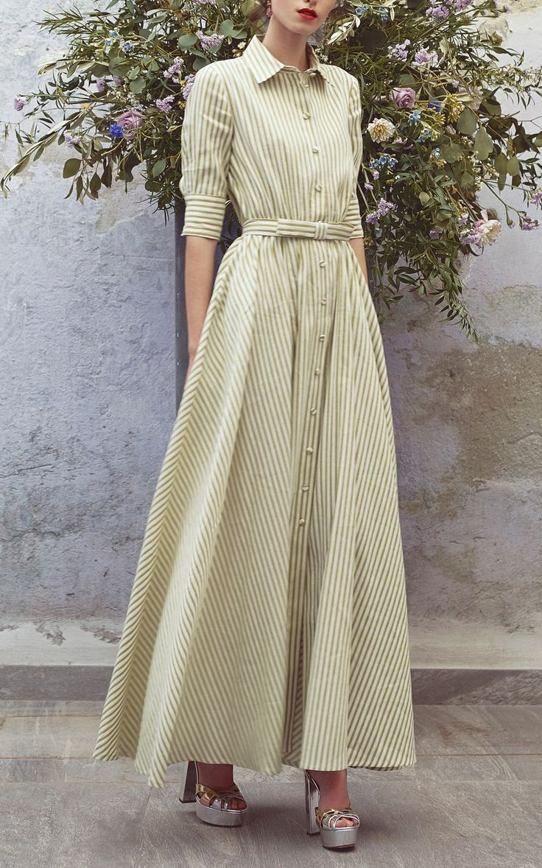 Striped Short Sleeve Full Length Dress by Luisa