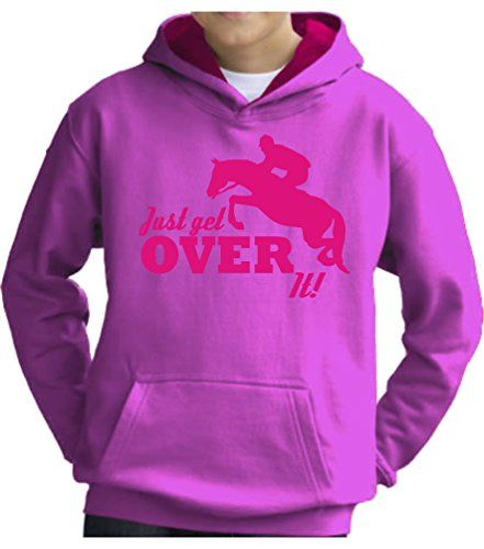 TWO TONE Candyfloss/Hot Pink Hoodie 'JUST GET OVER IT' with Hot Pink Print.