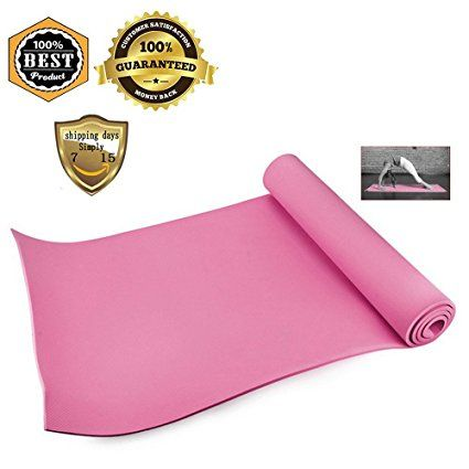 "Multi-Purpose Pilates & Yoga Mat - Meanhoo 23"" x 63"" Non-slip Anti-tear Health Fitness Yoga Pad for Home Gym, 4mm Thick (Pink)"