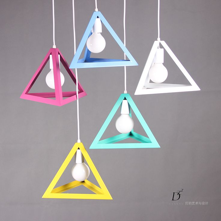 Modern DIY personality colorful triangle pendant light children's room penant lamp bar clothing store dining room bedside lamp-in Pendant Lights from Lights & Lighting on Aliexpress.com   Alibaba Group