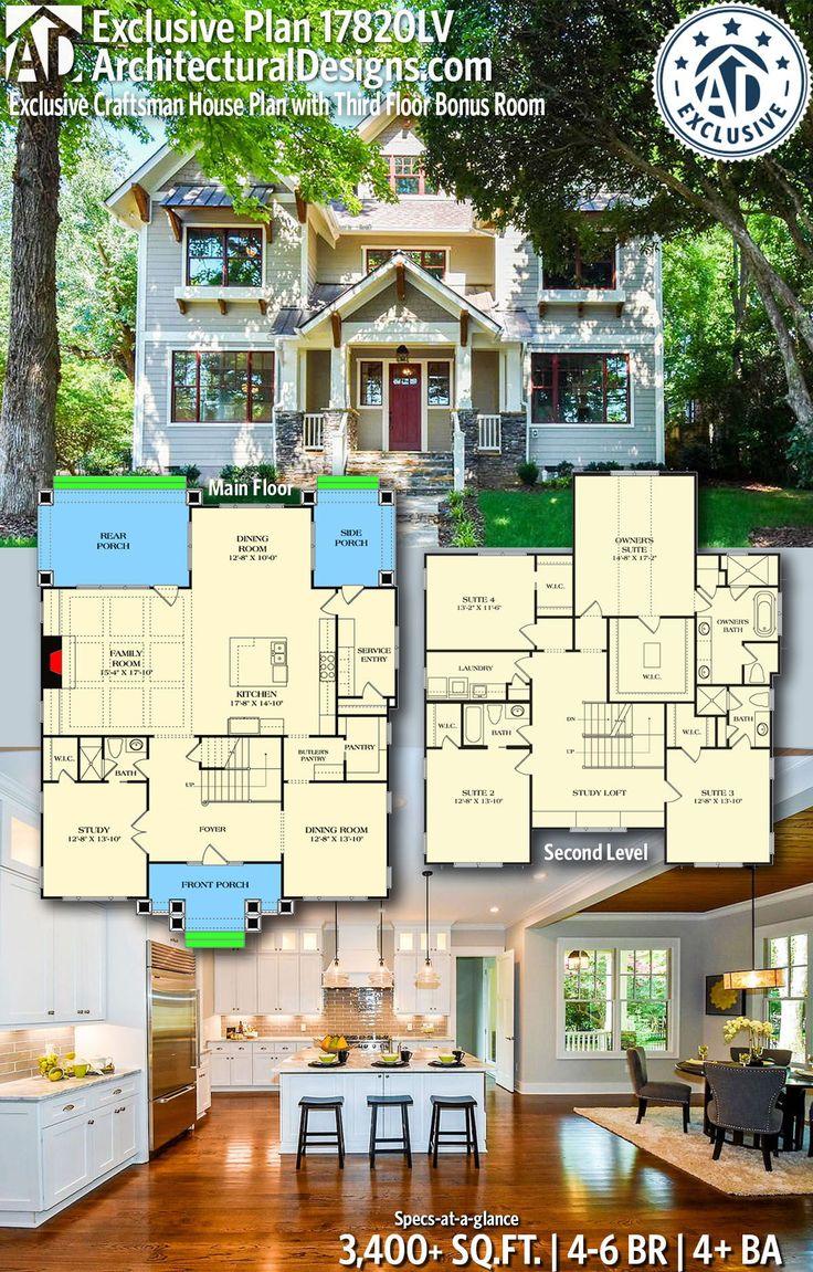 Plan 17820LV: Exclusive Craftsman House Plan with Third Floor Bonus Room