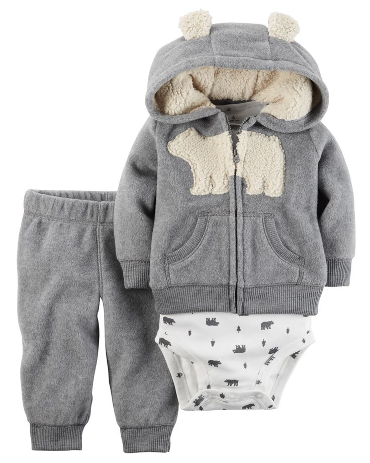 Taking him from tummy time to nap time, this fleece zip-front cardigan set features kanga pockets, an embroidered polar bear and a cozy hood with cute animal ears. Complete with a coordinating short sleeve bodysuit and pants.