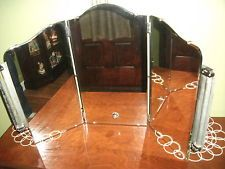 Vintage Arched Tri-Fold Mirror Beveled Glass Lighted Vanity Wall Mount Table Top
