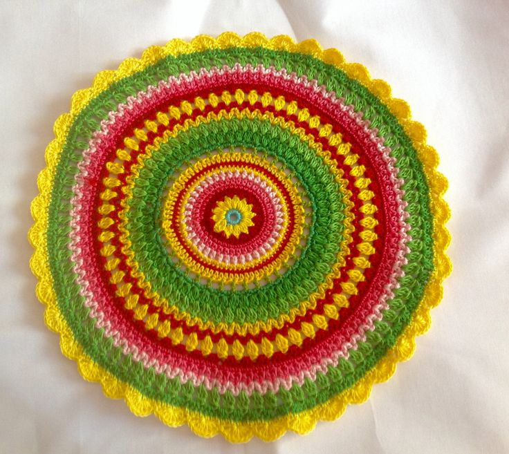 Crochet Patterns Placemats : Crochet Placemat Pattern , Colorful Crochet Pattern ...