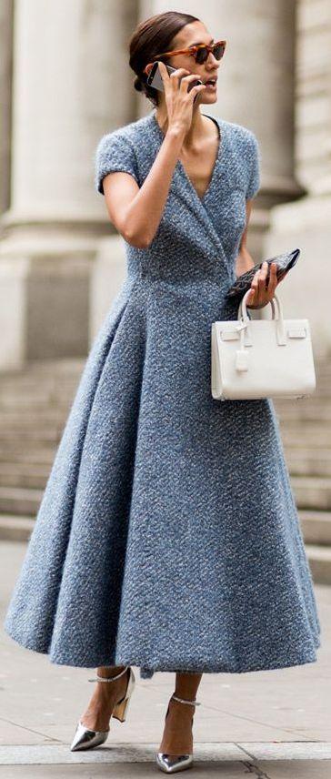 ❤️ #street #style #fashion ❤️ Grey Knit Maxi Dress