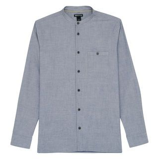 Collarless Herringbone Shirt, in Pale Blue on Whistles