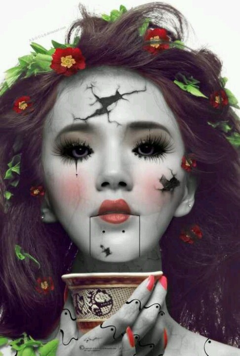 broken doll face makeup stage make up ideas pinterest doll makeup doll face and halloween. Black Bedroom Furniture Sets. Home Design Ideas
