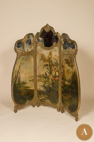 Ширма с зеркалами и ручной росписью